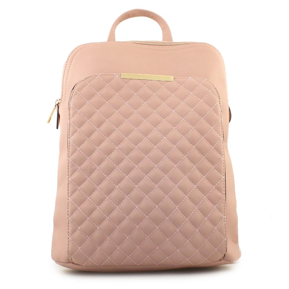 Γυναικεία σακίδια πλάτης με καπιτονέ μοτίβο Ροζ