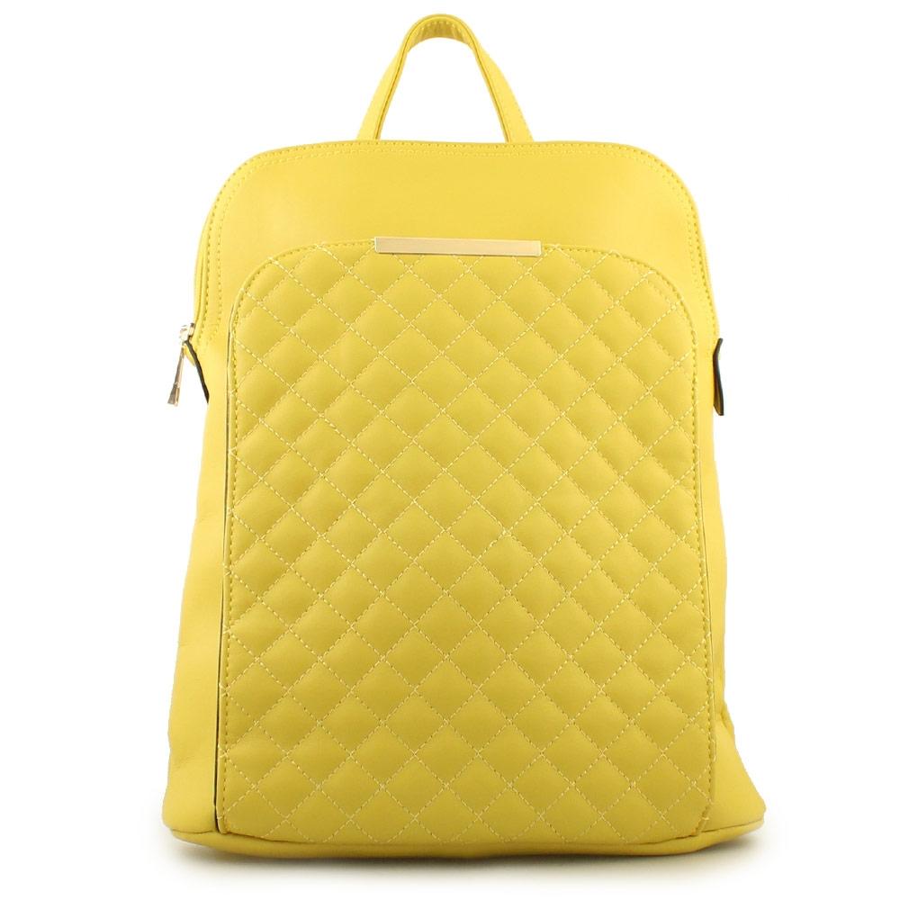 Γυναικεία σακίδια πλάτης με καπιτονέ μοτίβο Κίτρινο