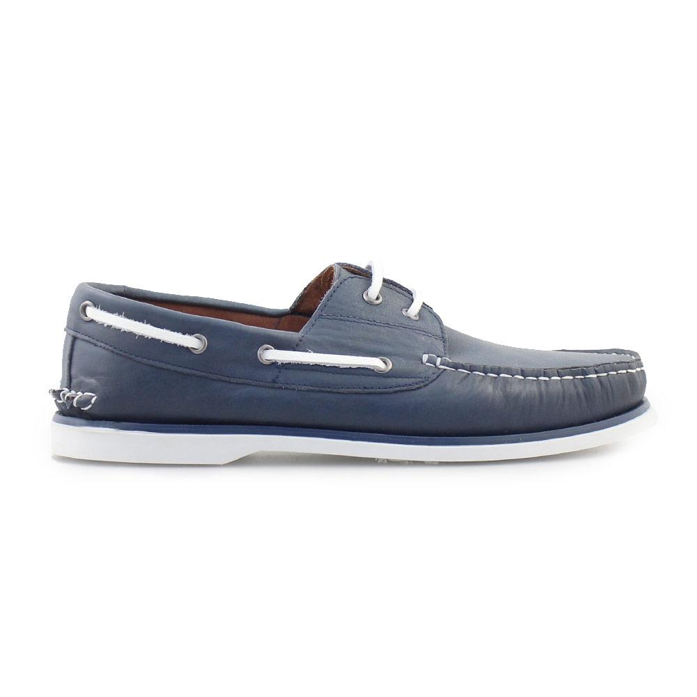 Ανδρικά δερμάτινα loafers με περιμετρικά κορδόνια Μπλε