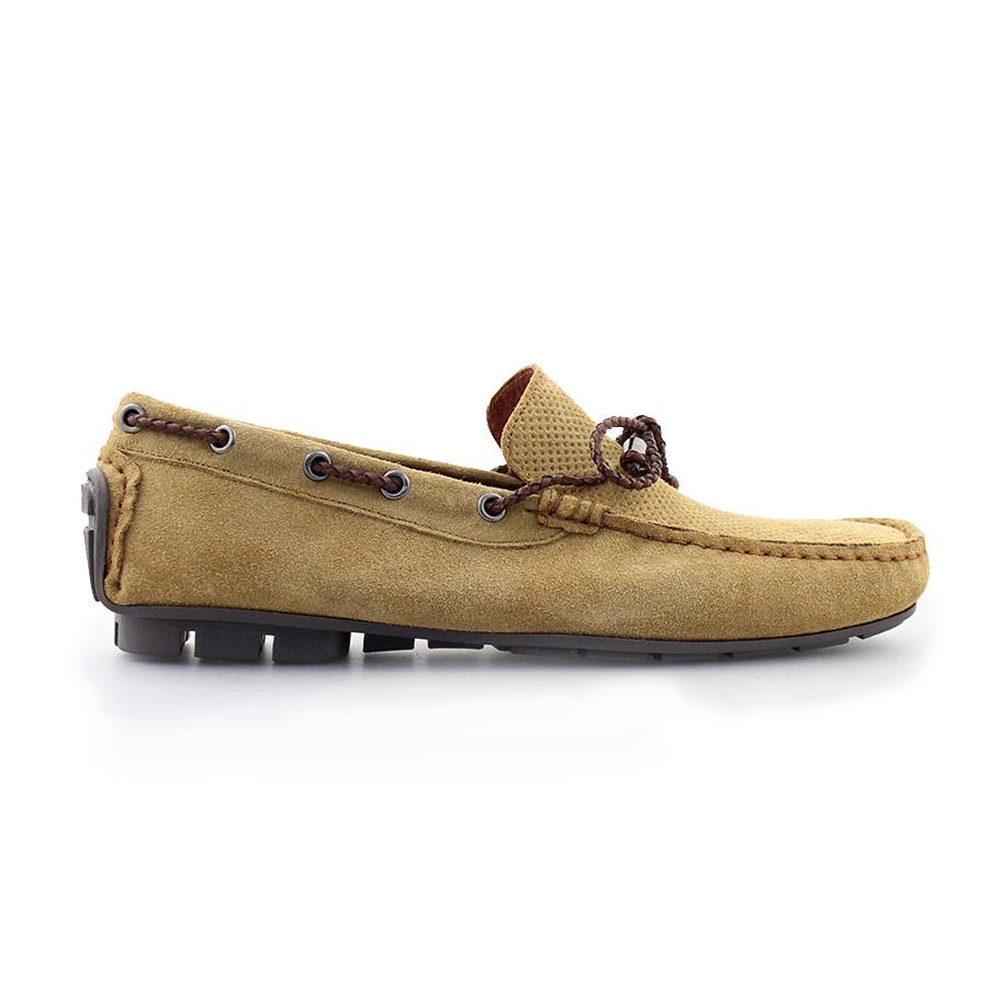 Ανδρικά loafers καστόρινα με διακοσμητικά κορδόνια Κάμελ