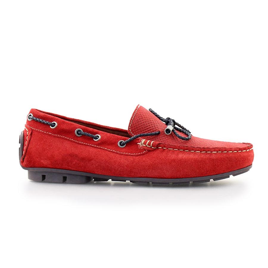 Ανδρικά loafers καστόρινα με διακοσμητικά κορδόνια Κόκκινο