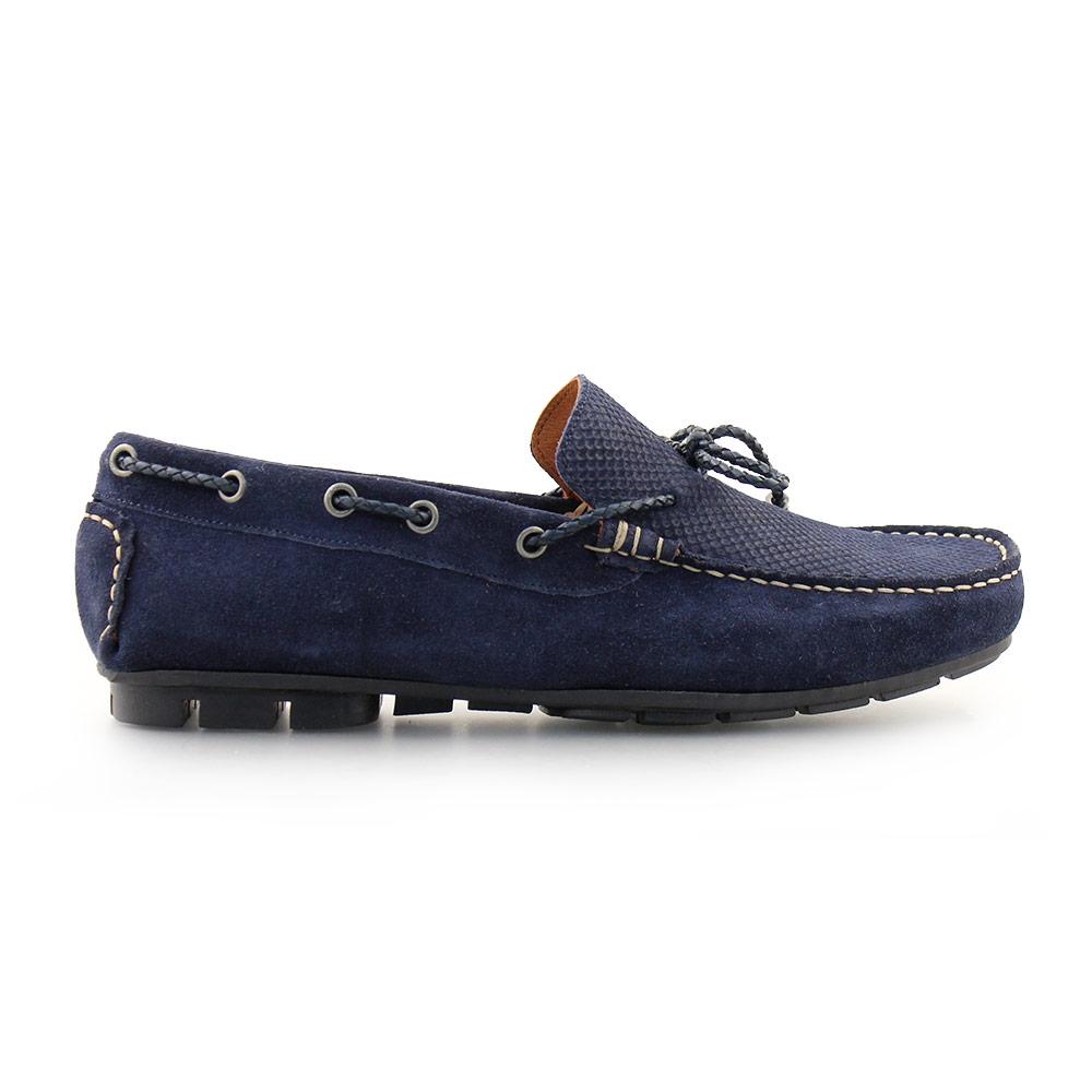 Ανδρικά loafers καστόρινα με διακοσμητικά κορδόνια Μπλε