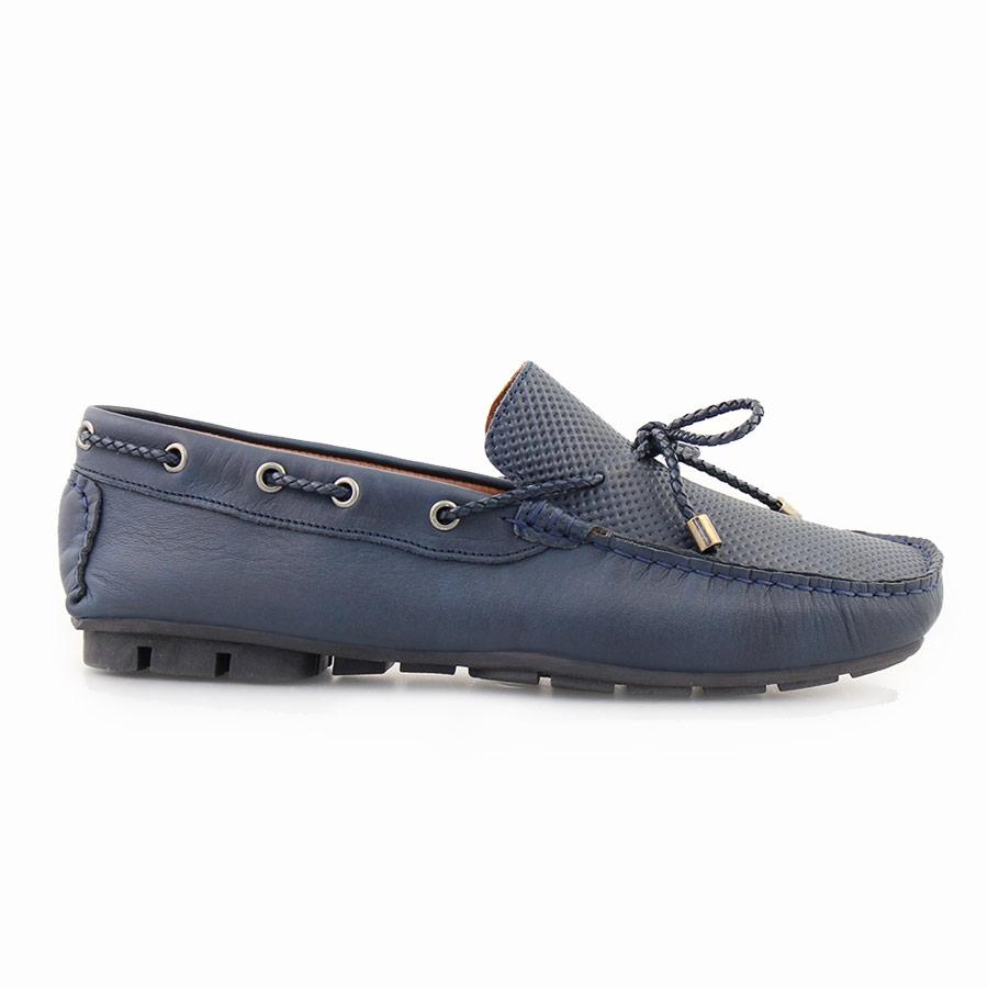 Ανδρικά δερμάτινα loafers με διακοσμητικά κορδόνια Μπλε