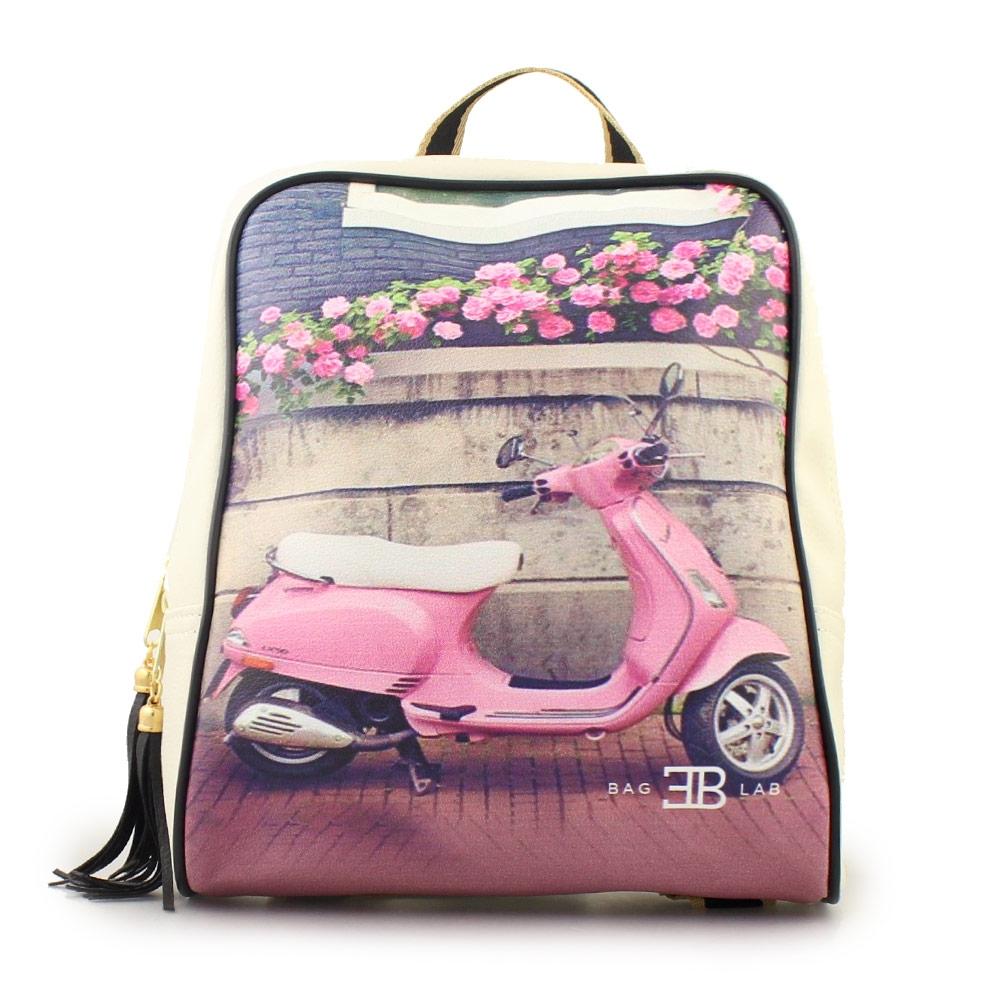 Γυναικεία σακίδια πλάτης με print pink vespa Λευκό