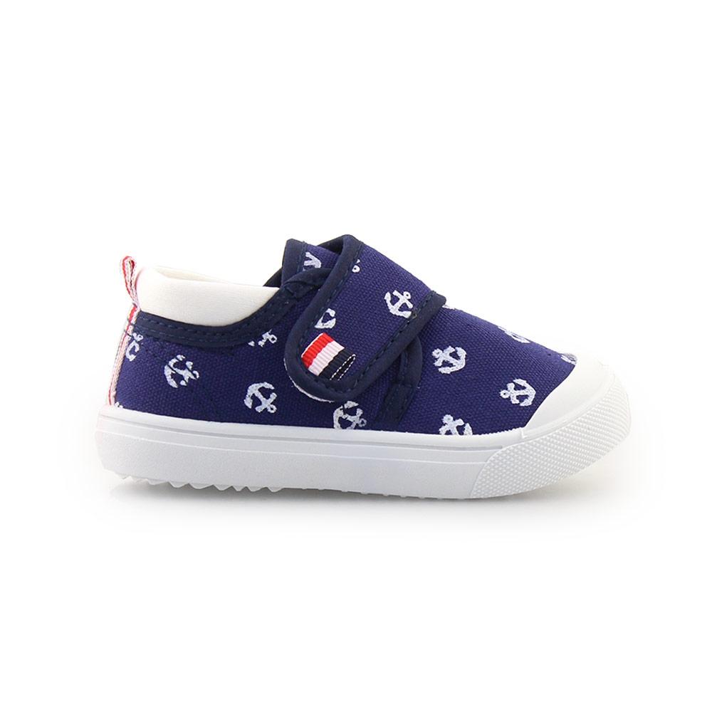 Παιδικά sneakers με αυτοκόλλητο και άγκυρες Μπλε