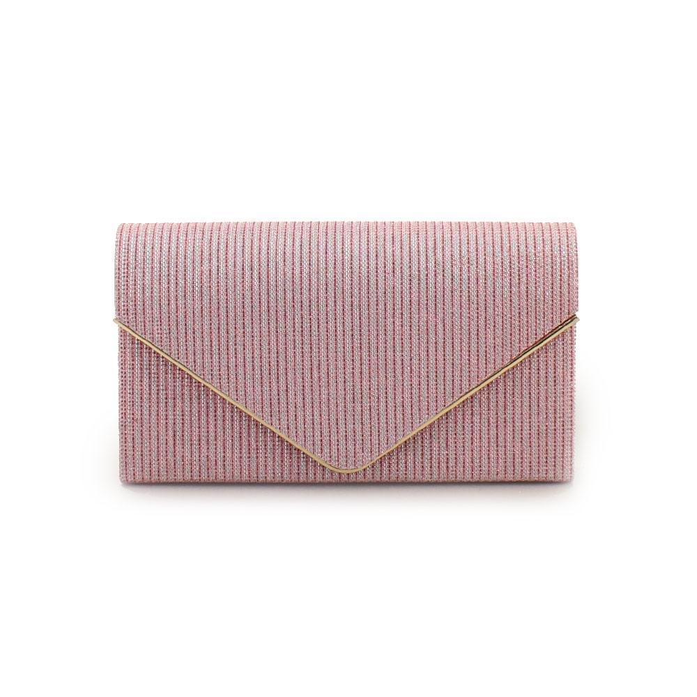 Γυναικείοι φάκελοι μεταλλιζέ με τριγωνικό καπάκι Ροζ