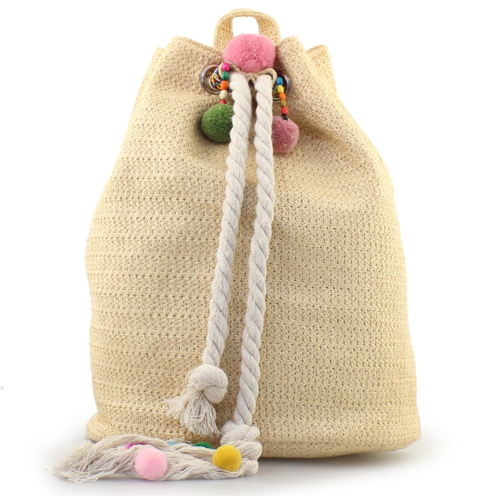 Γυναικεία σακίδια πλάτης με ψάθα και pom pon Μπεζ