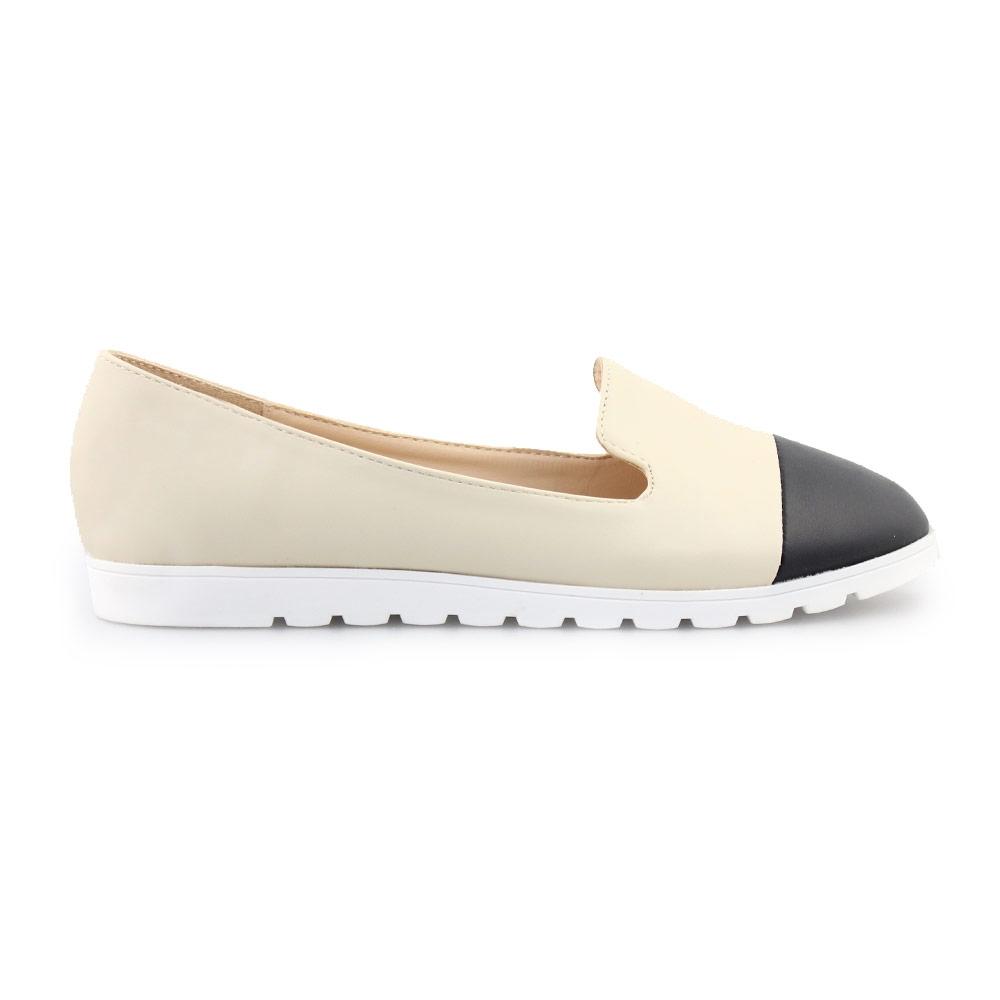 Γυναικεία loafers δίχρωμα Μπεζ/Μαύρο