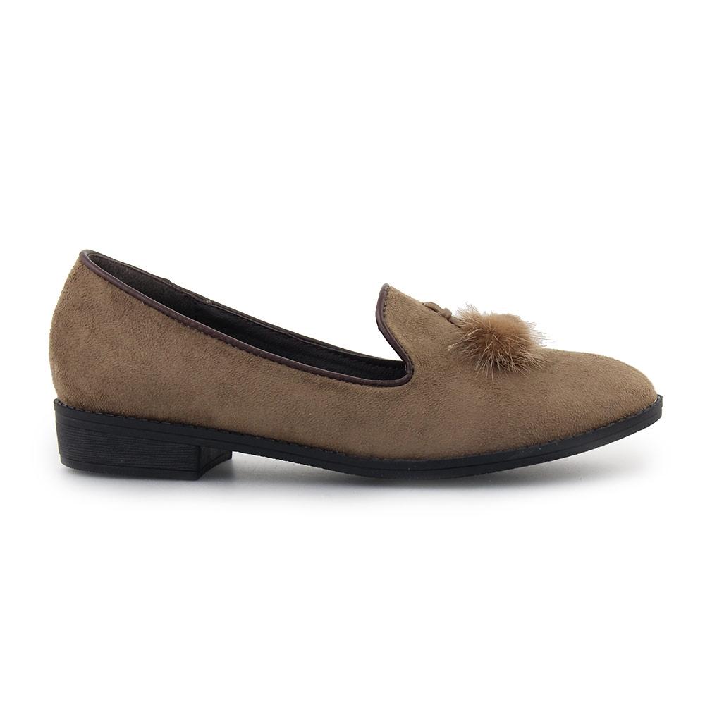 Γυναικεία loafers με φουντάκι Καφέ