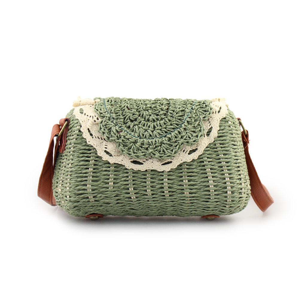 Γυναικείες τσάντες ώμου με πλεκτό διακοσμητικό Πράσινο