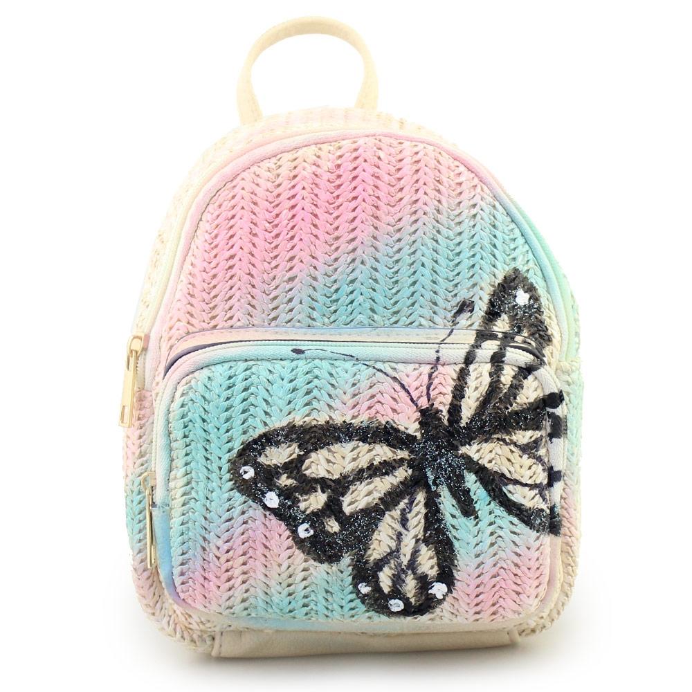 Γυναικεία σακίδια πλάτης με τύπωμα πεταλούδα Μπεζ