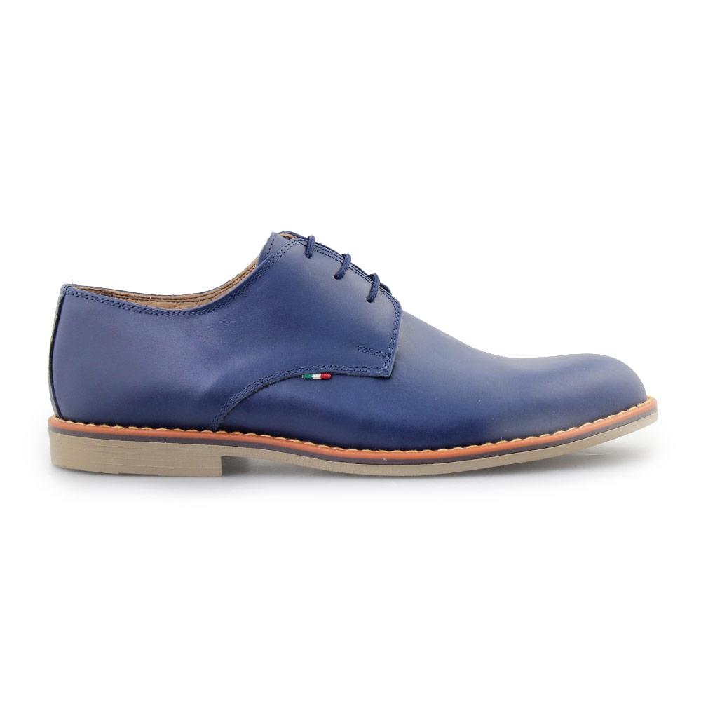 Ανδρικά δερμάτινα loafers μονόχρωμα Μπλε