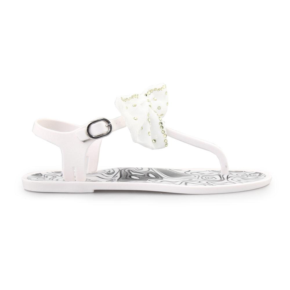 Γυναικεία σανδάλια με διακοσμητικό φιόγκο Λευκό