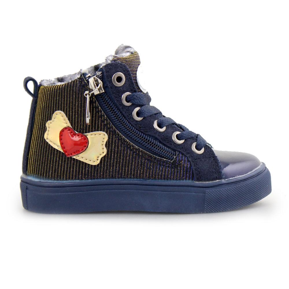 Παιδικά sneakers με σχέδιο και φερμουάρ Μπλε
