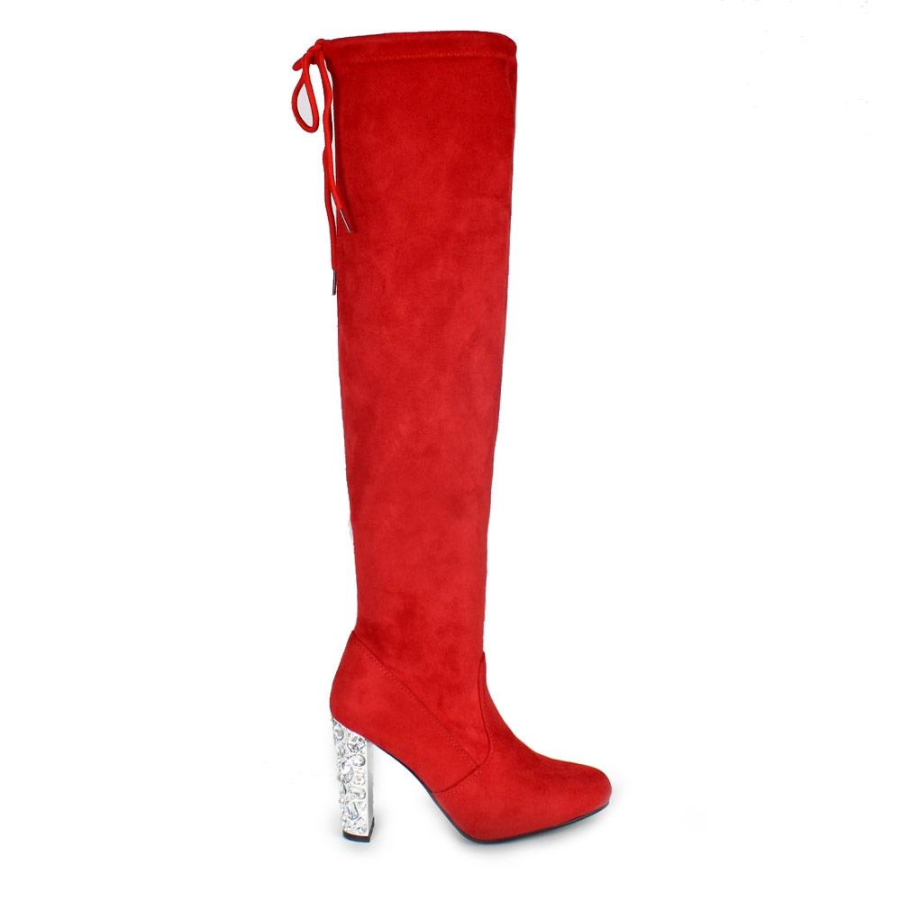 Γυναικείες μπότες με διαμάντια στο τακούνι Κόκκινο