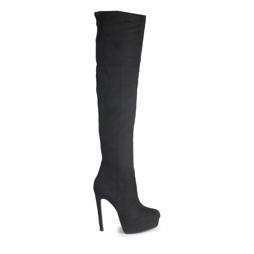 Γυναικείες μπότες καστόρινες ψηλοτάκουνες Μαύρο