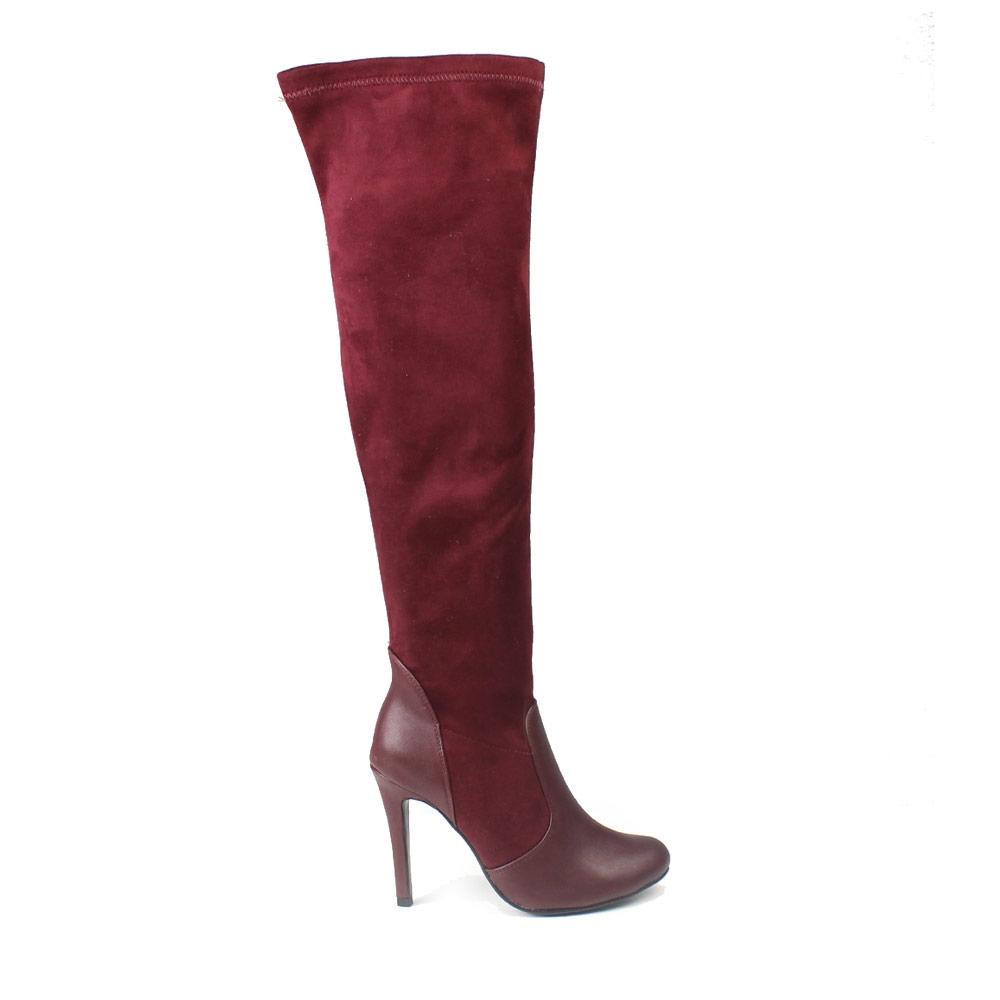 Γυναικείες μπότες με λεπτομέρειες από δερματίνη Μπορντώ