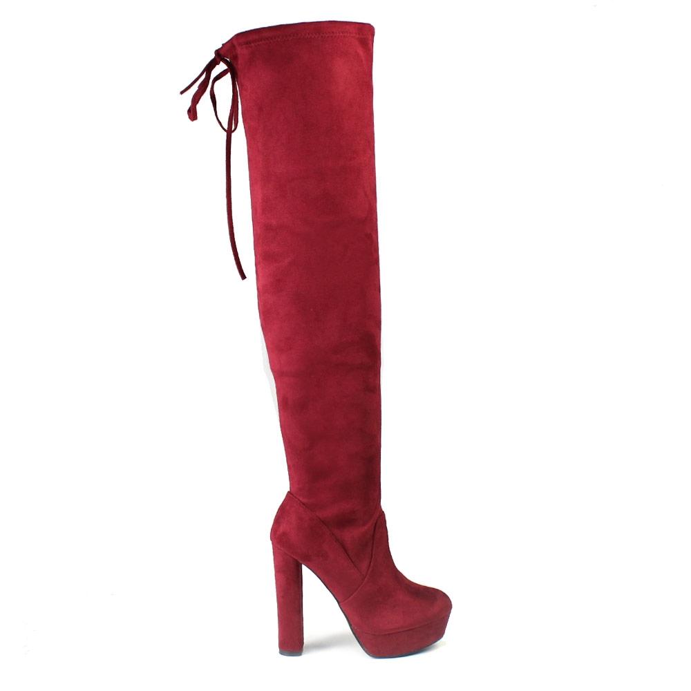 Γυναικείες μπότες μονόχρωμες με φιάπα Μπορντώ
