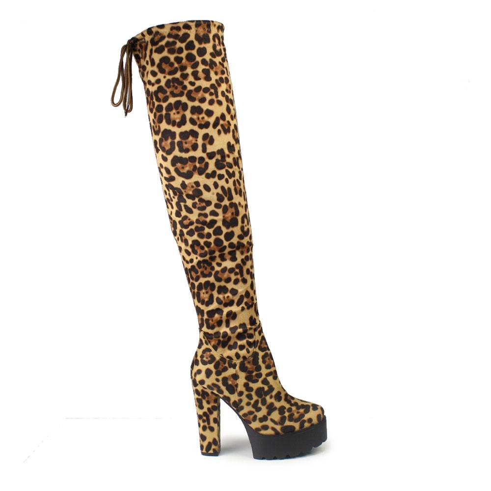 Γυναικείες μπότες με τρακτερωτή φιάπα Λεοπάρ