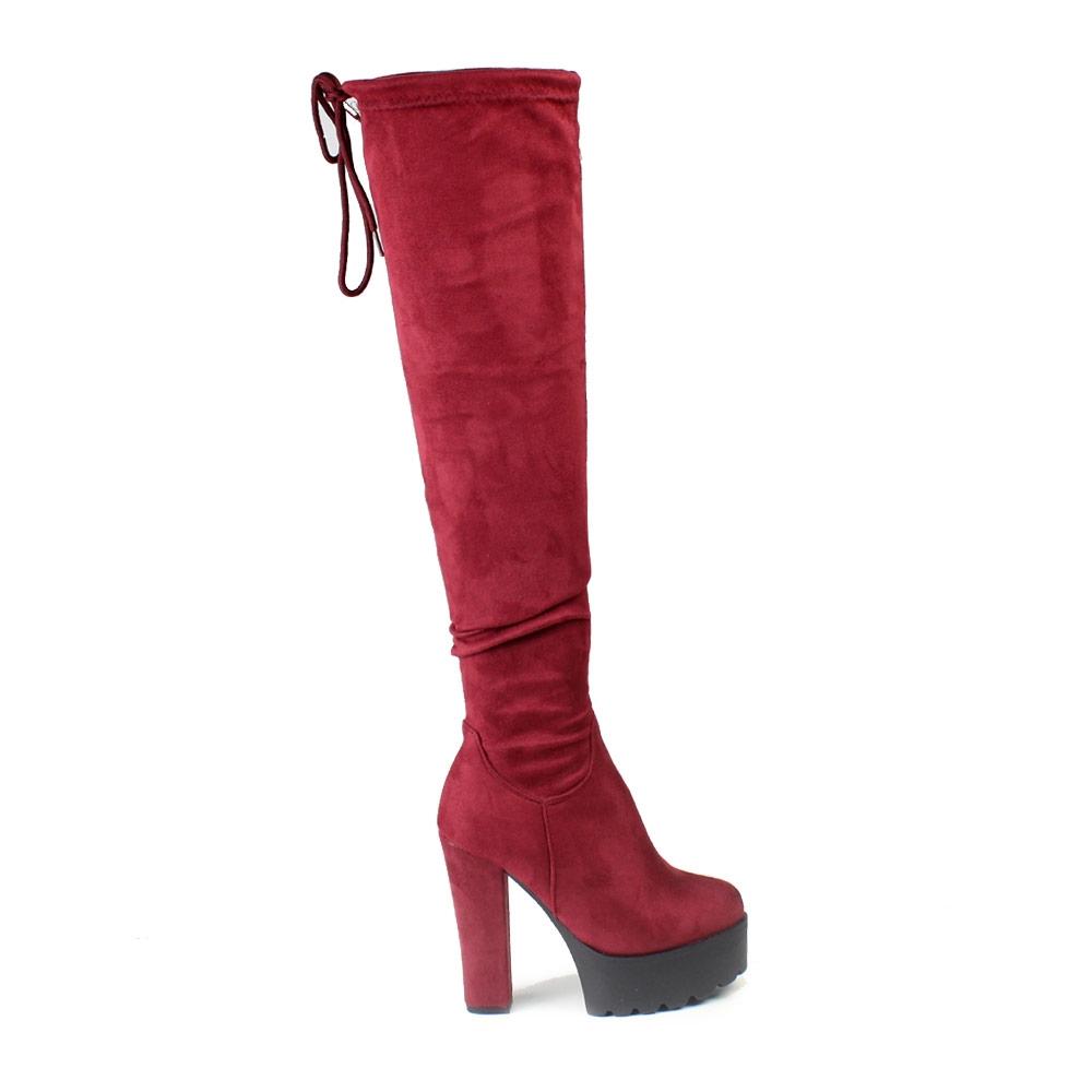 Γυναικείες μπότες με τρακτερωτή φιάπα Μπορντώ