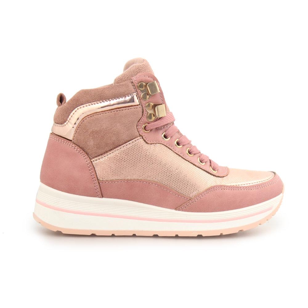 Γυναικεία sneakers μποτάκια κροκό Ροζ