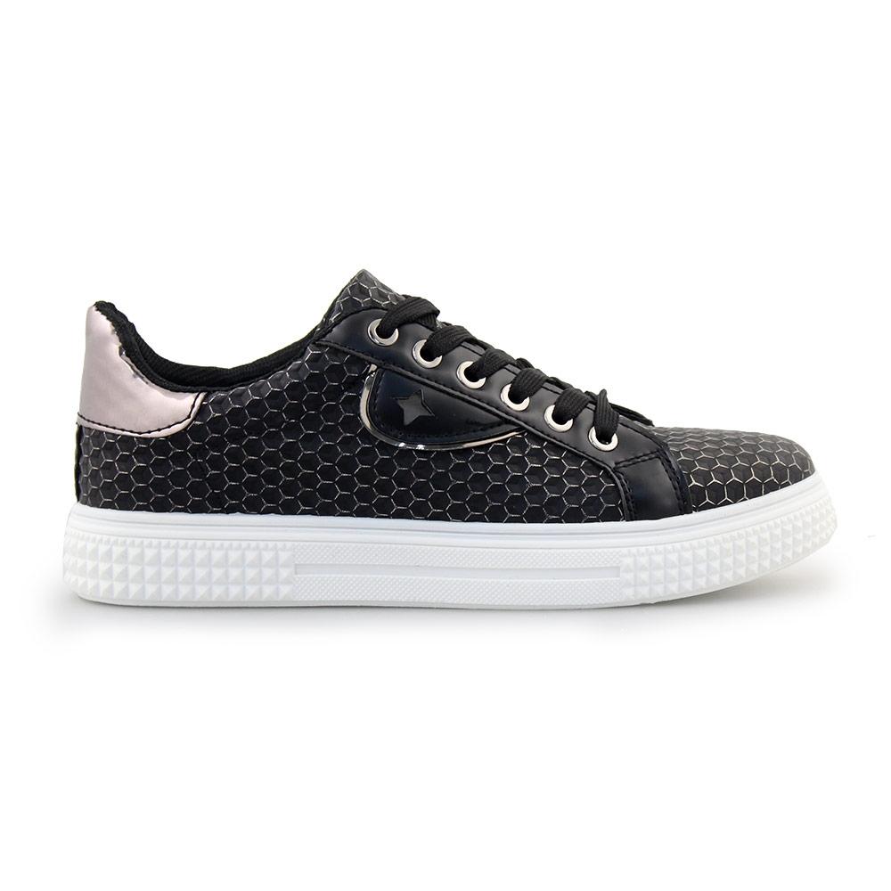 Γυναικεία sneakers με μεταλλιζέ πλέγμα Μαύρο