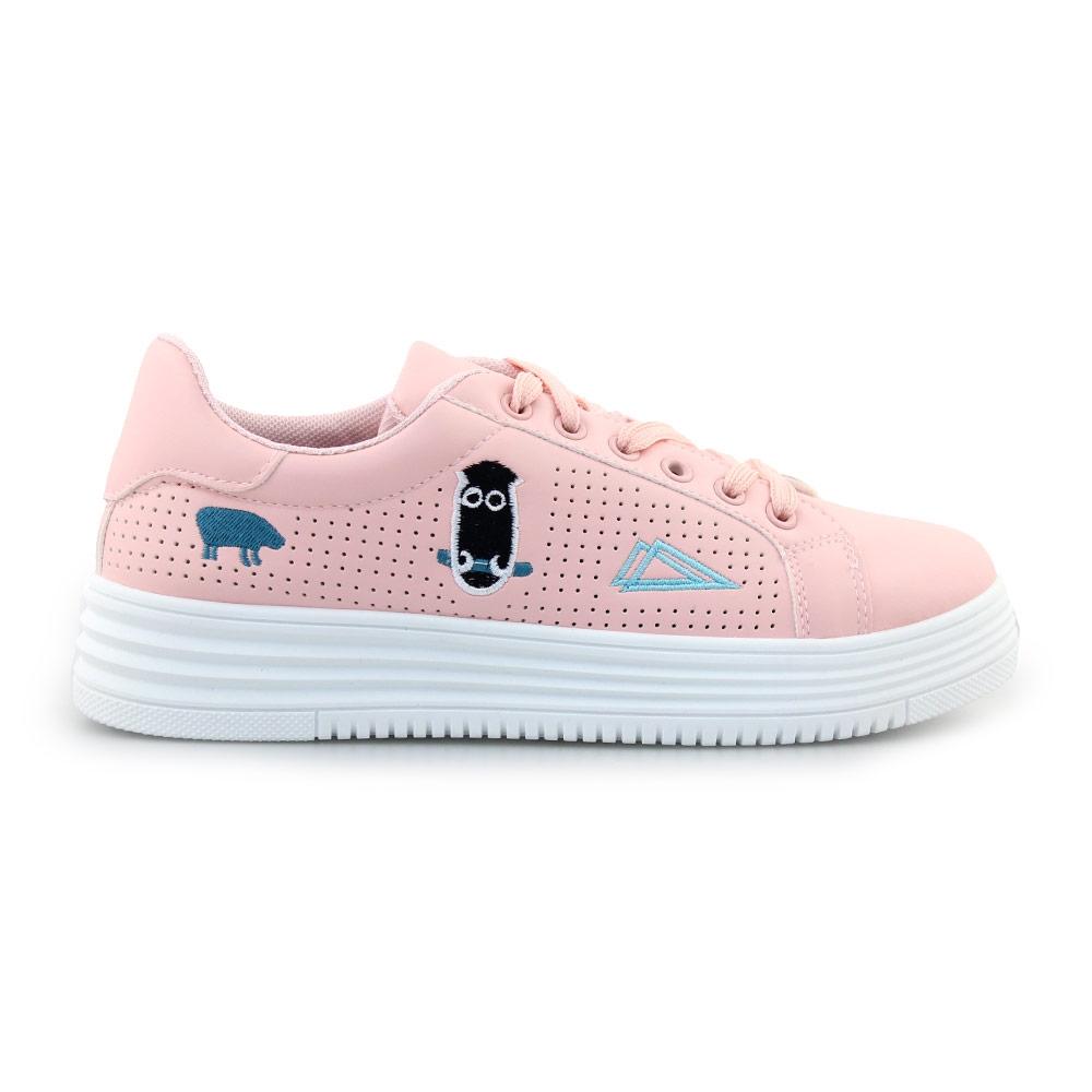 Γυναικεία sneakers με περφορέ μοτίβο Ροζ