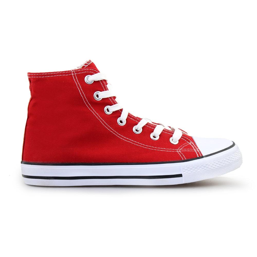 Ανδρικά sneakers υφασμάτινα με ρίγα στη σόλα Κόκκινο
