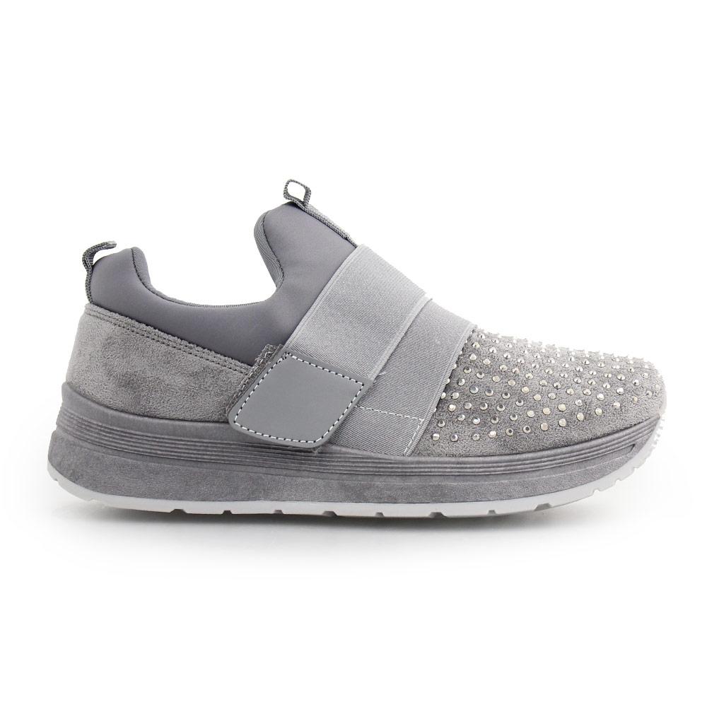 Γυναικεία sneakers με strass Γκρι