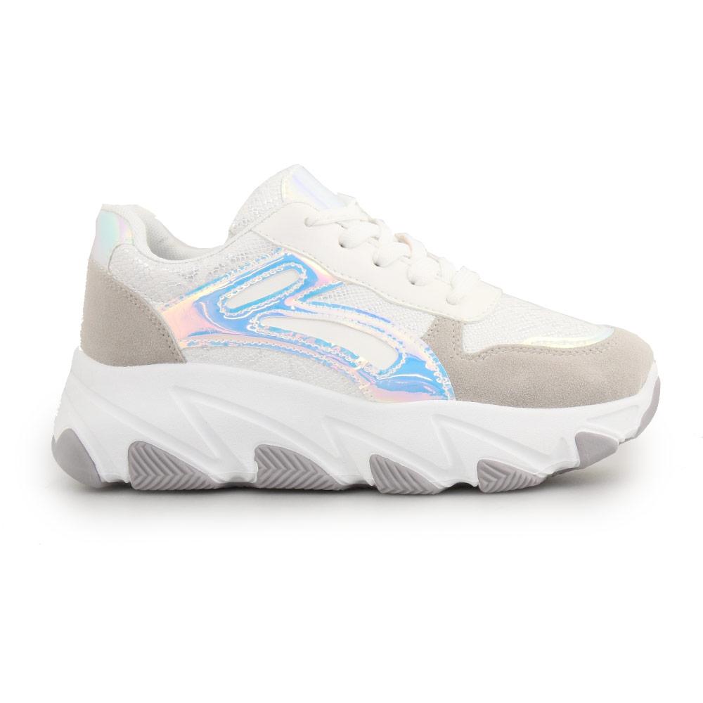 Γυναικεία sneakers με snake skin μοτίβο Λευκό