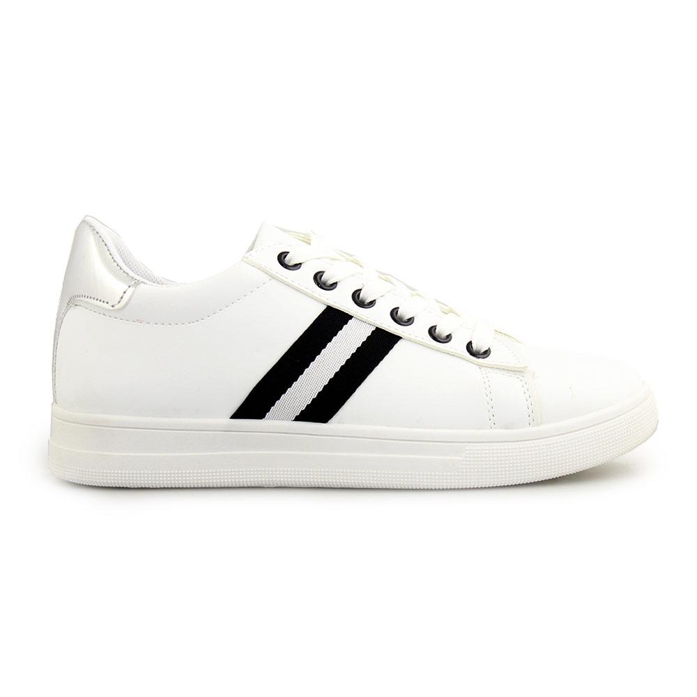 Γυναικεία sneakers με διακοσμητική λεπτομέρεια Λευκό/Μαύρο