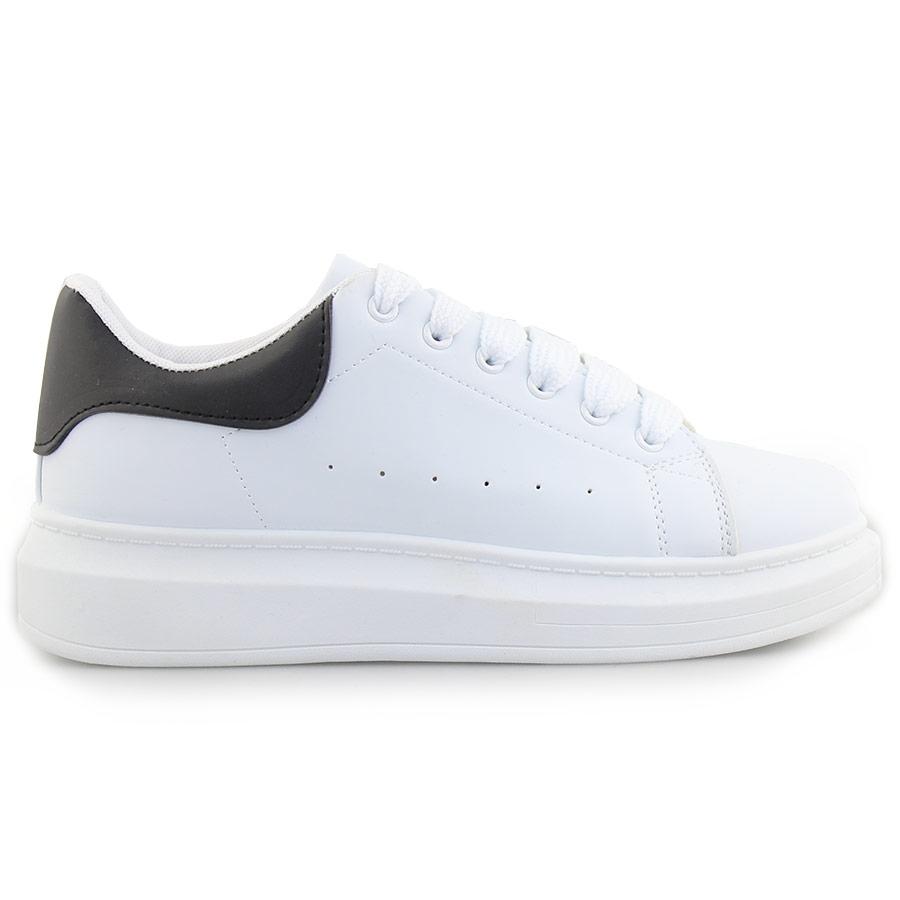 Ανδρικά sneakers μονόχρωμα με λεπτομέρεια Λευκό/Μαύρο