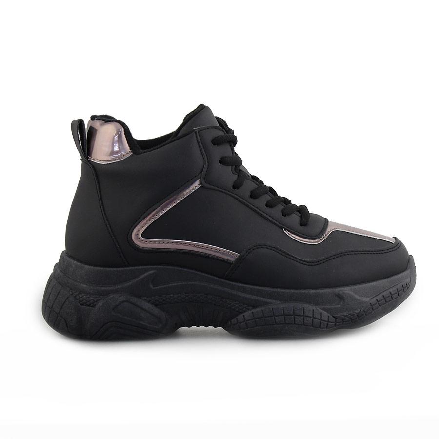 Γυναικεία sneakers με μεταλλιζέ λεπτομέρειες Μαύρο