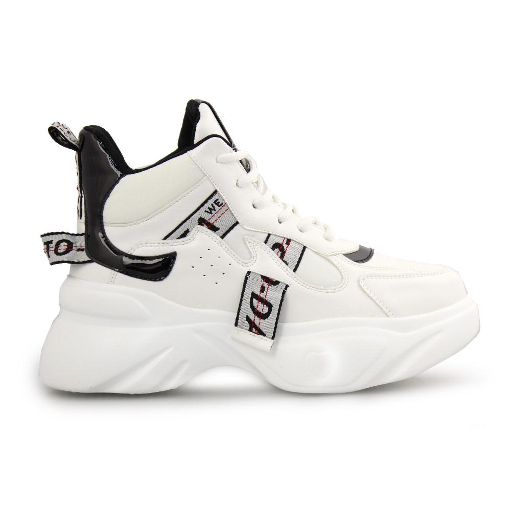 Γυναικεία sneakers με διακοσμητικό ύφασμα Λευκό
