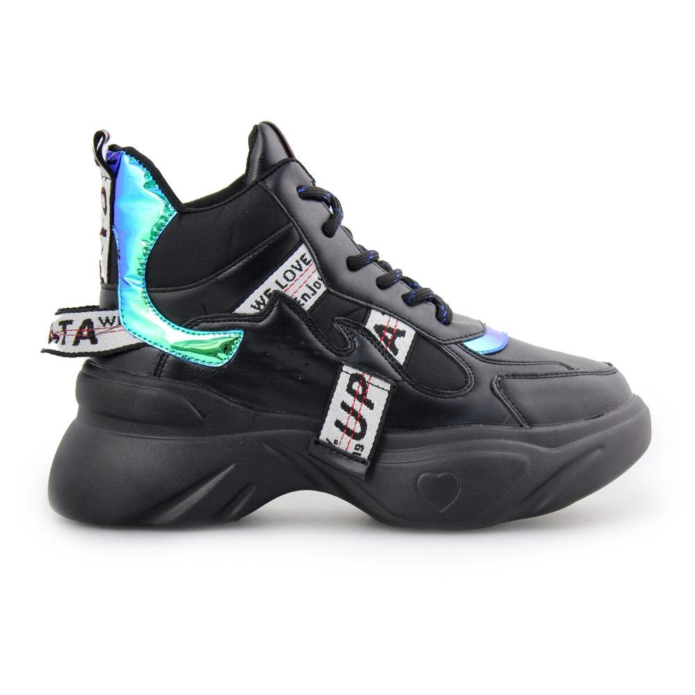 Γυναικεία sneakers με διακοσμητικό ύφασμα Μαύρο