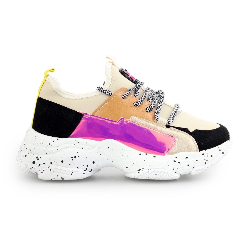 Γυναικεία sneakers με λεπτομέρειες Μπεζ