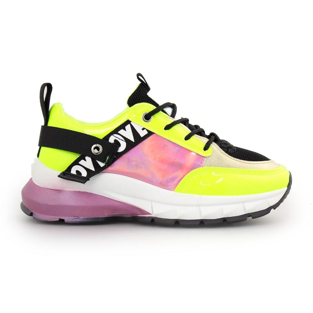 Γυναικεία sneakers με μεταλλιζέ λεπτομέρειες Κίτρινο