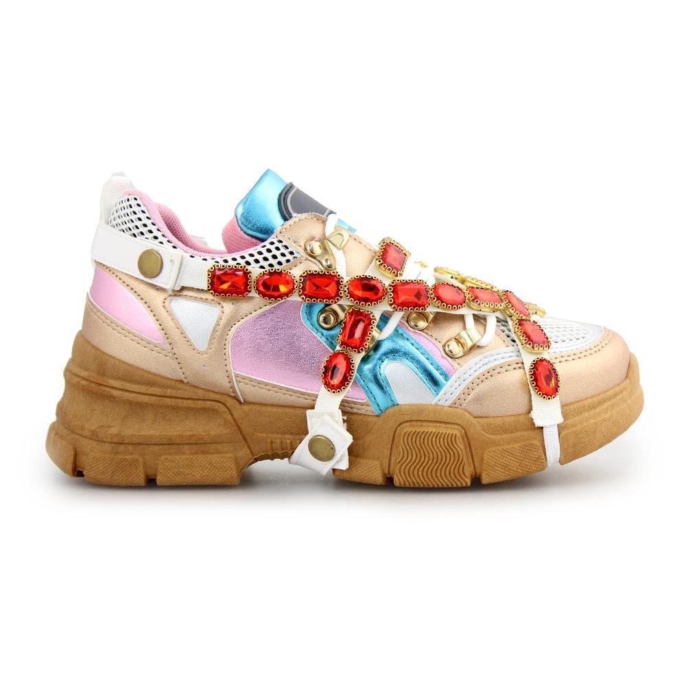 Γυναικεία sneakers με αποσπώμενο διακοσμητικό Multi