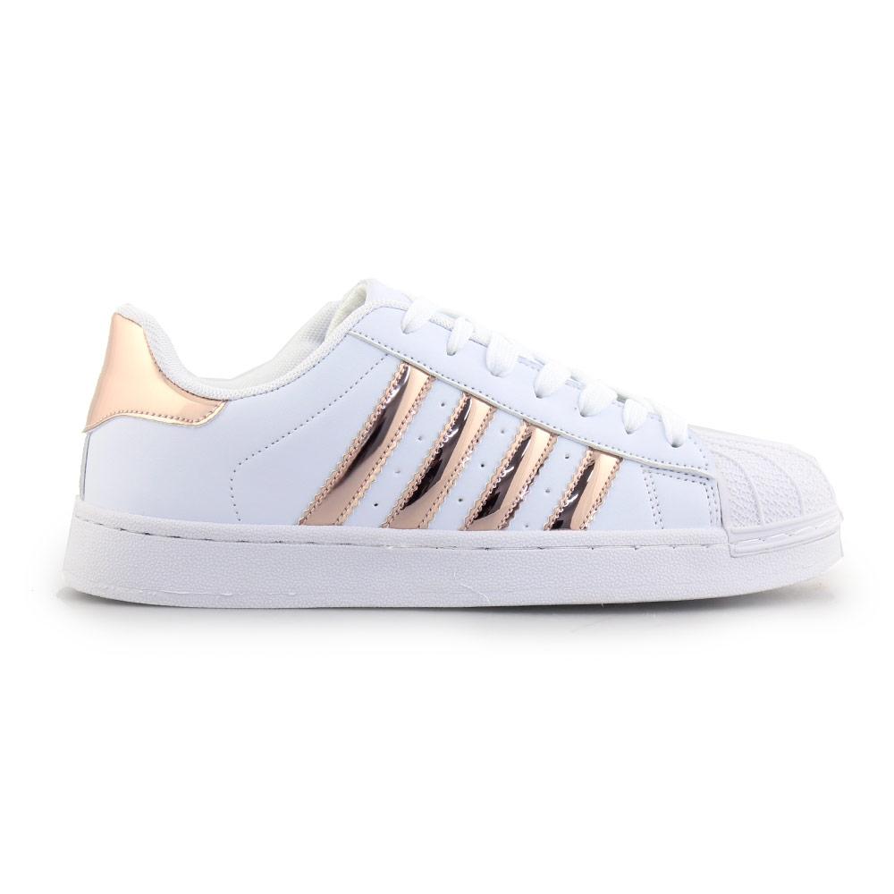 Γυναικεία sneakers με ρίγες Λευκό/Σαμπάνι