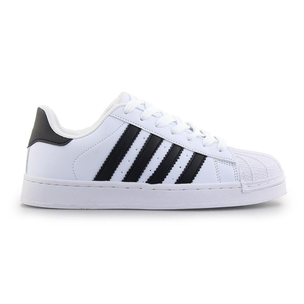 Γυναικεία sneakers με ρίγες Λευκό/Μαύρο