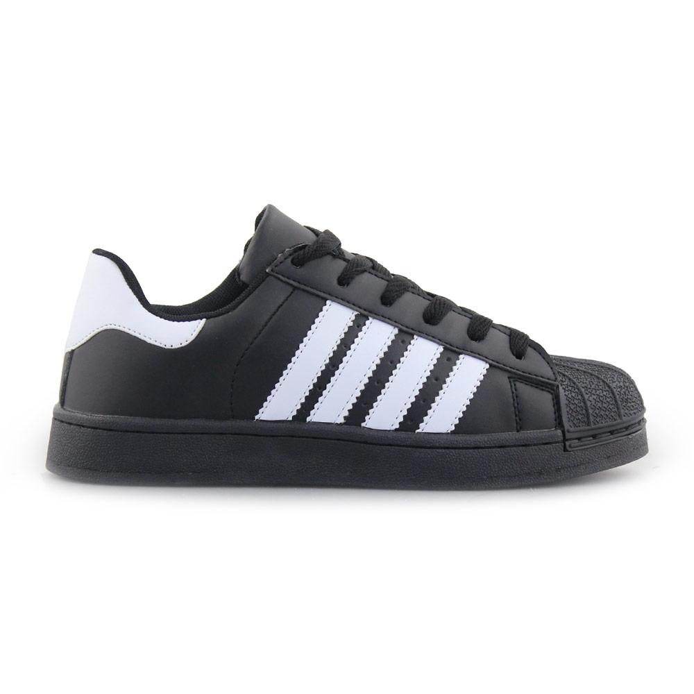 Γυναικεία sneakers με ρίγες Μαύρο/Λευκό