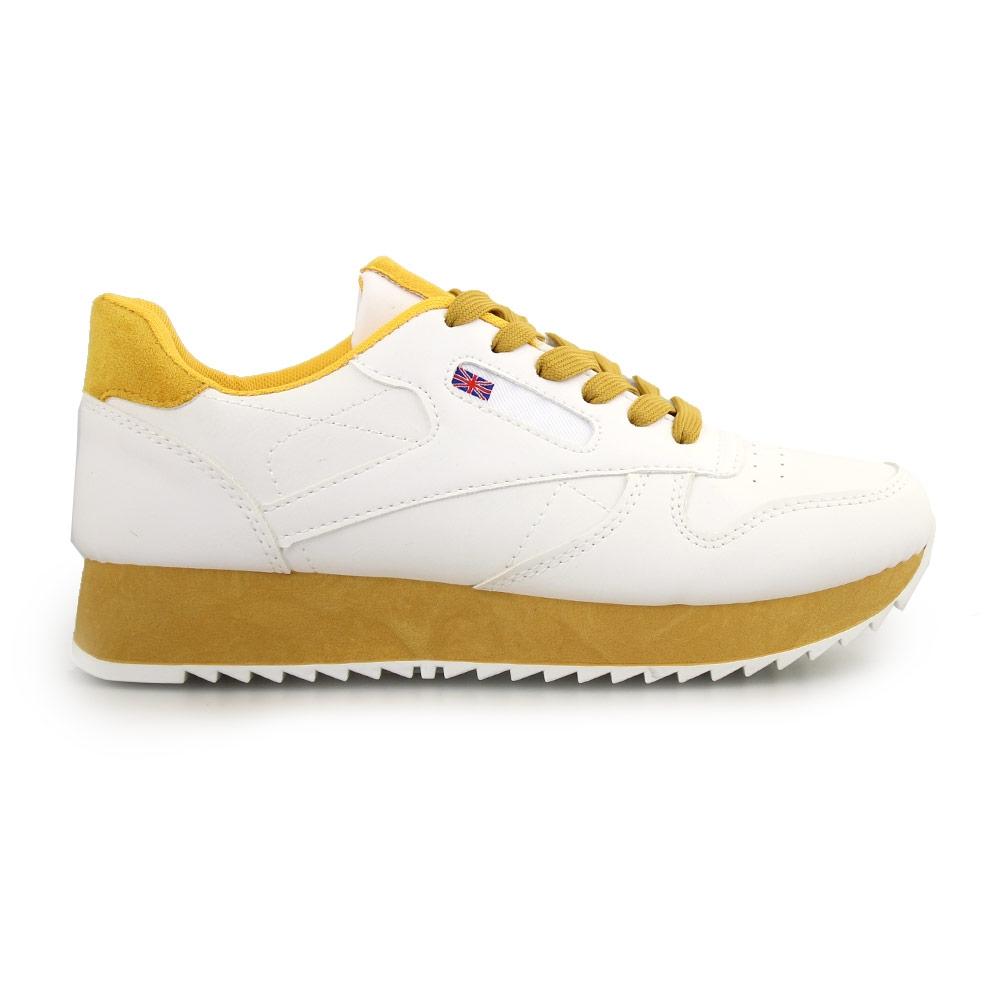 Γυναικεία sneakers δίχρωμα Λευκό/Κίτρινο