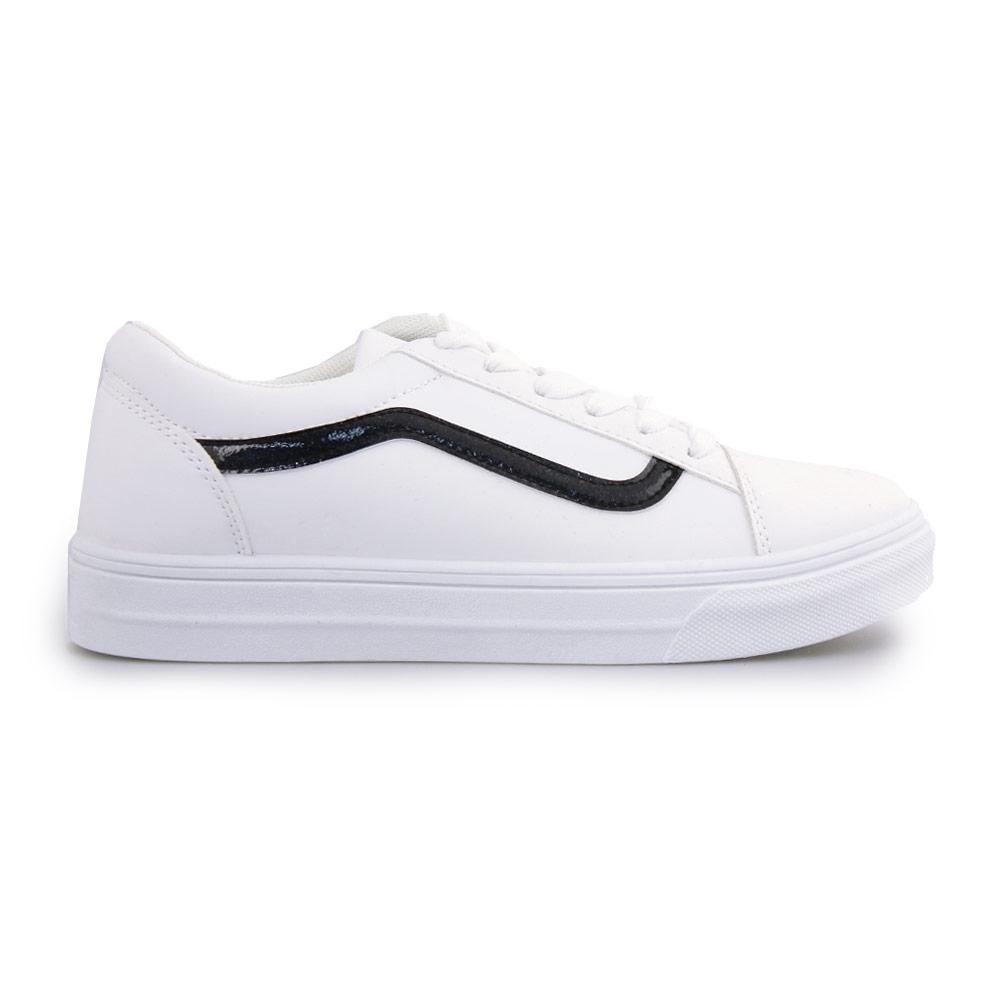 Γυναικεία sneakers με λεπτομέρεια με glitter Λευκό/Μαύρο