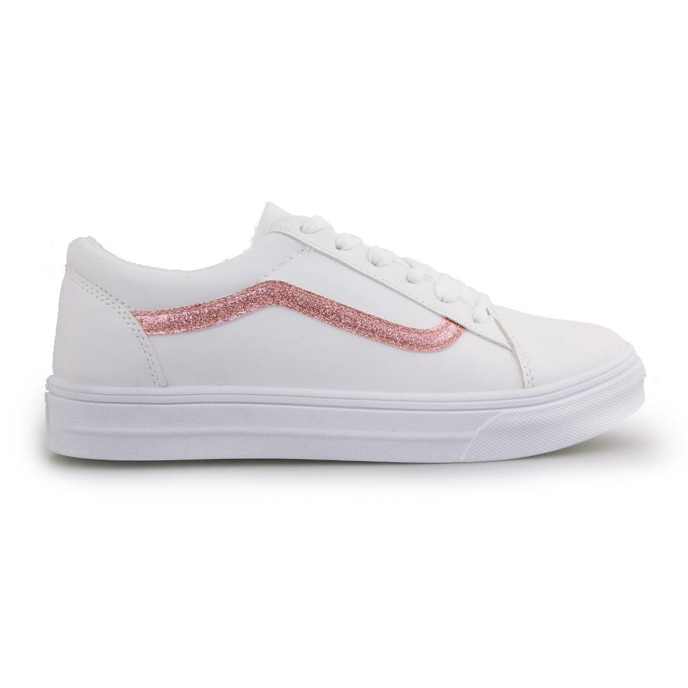 Γυναικεία sneakers με λεπτομέρεια με glitter Λευκό/Ροζ