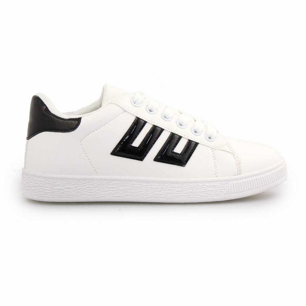 Γυναικεία sneakers με λεπτομέρειες Λευκό/Μαύρο