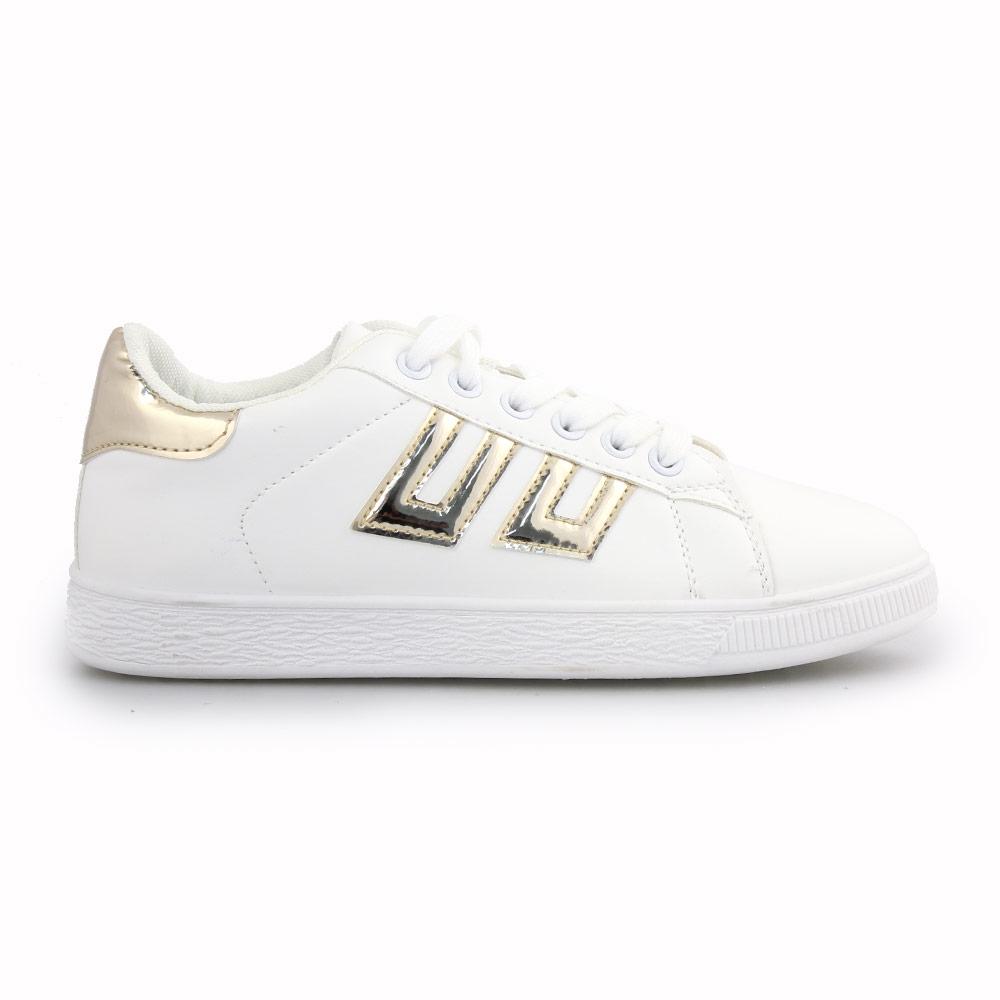 Γυναικεία sneakers με λεπτομέρειες Λευκό/Χρυσό