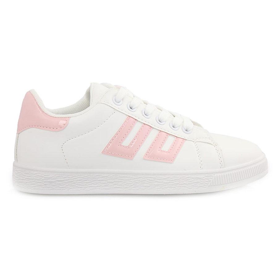 Γυναικεία sneakers με λεπτομέρειες Λευκό/Ροζ
