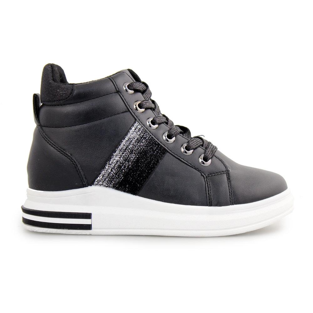Γυναικεία sneakers με μεταλλιζέ λεπτομέρειες Μαύρο/Λευκό
