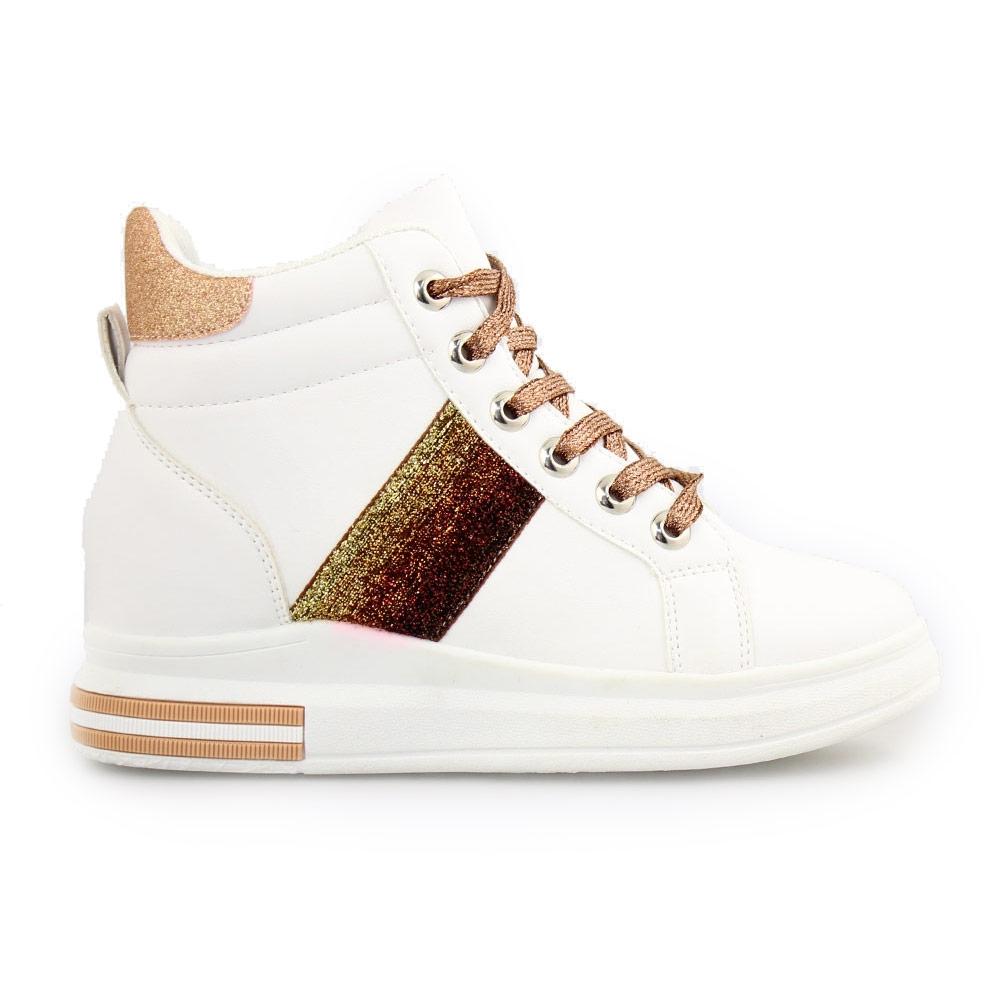 Γυναικεία sneakers με μεταλλιζέ λεπτομέρειες Λευκό/Σαμπανί