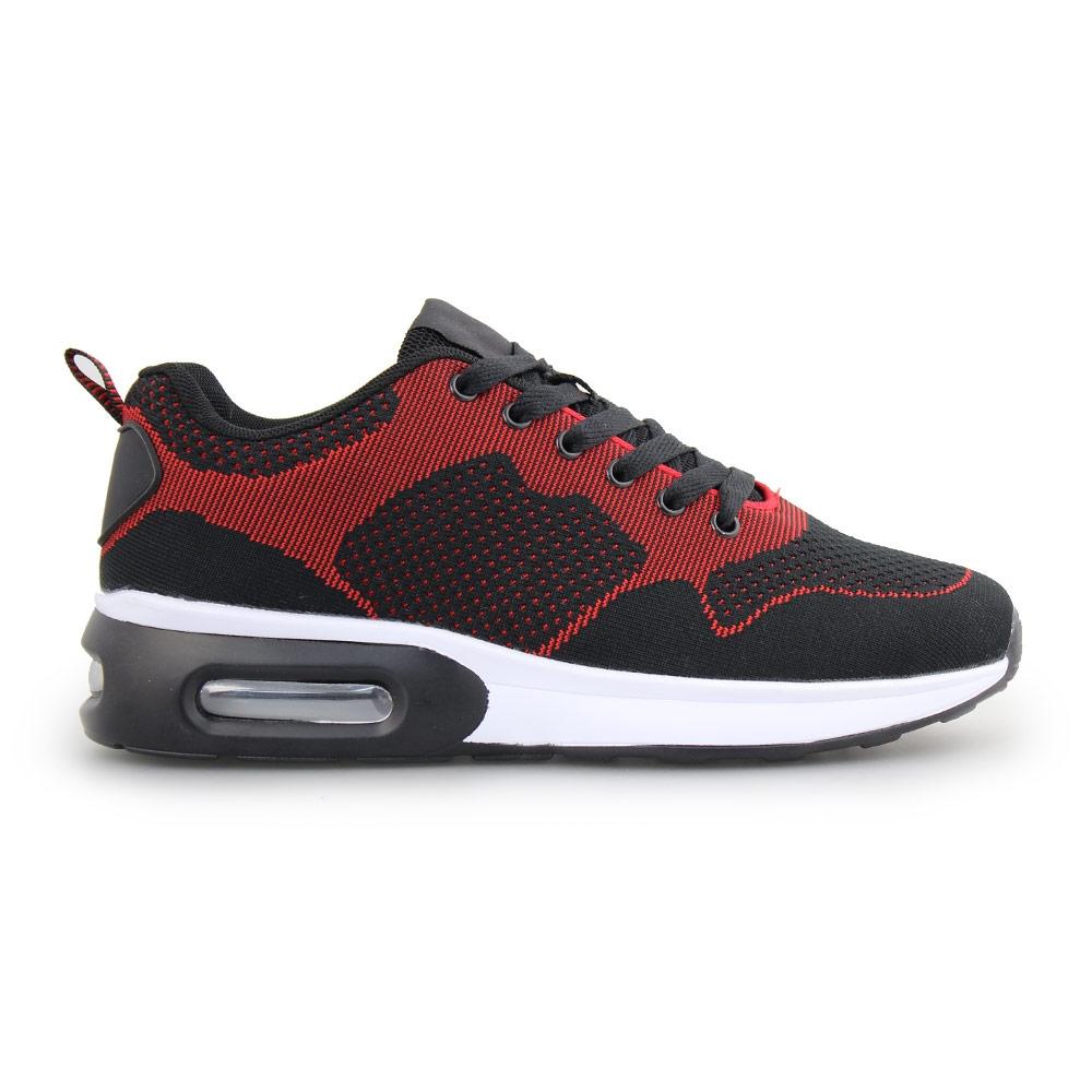 Ανδρικά sneakers δίχρωμα με αερόσολα Μαύρο/Κόκκινο